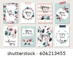 spring floral cards with... | Shutterstock .eps vector #606213455