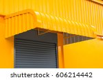yellow steel awning over... | Shutterstock . vector #606214442