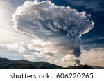 eruption of mount etna on... | Shutterstock . vector #606220265