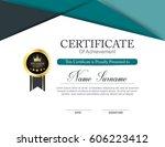 vector certificate template | Shutterstock .eps vector #606223412