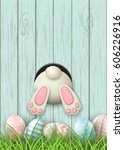 easter motive  white bunny... | Shutterstock .eps vector #606226916