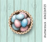basket with painted blue and... | Shutterstock .eps vector #606226925