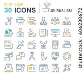 set vector line icons  sign and ... | Shutterstock .eps vector #606230672