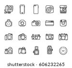 set of line camera icons on...