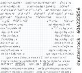 mathematical formulas drawn on... | Shutterstock .eps vector #606232856