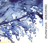 watercolor navy blue foliage... | Shutterstock . vector #606234482