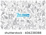 hand drawn ice cream doodle set ... | Shutterstock .eps vector #606238388