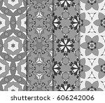 set of geometric pattern in... | Shutterstock . vector #606242006