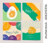 happy easter vintage background.... | Shutterstock .eps vector #606243356