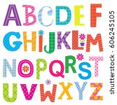 decorative alphabet sets with... | Shutterstock .eps vector #606245105