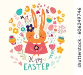 happy easter card. holiday... | Shutterstock .eps vector #606249746