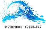 splashing wave on white... | Shutterstock .eps vector #606251582