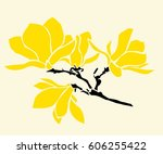 magnolia branch with flowers ... | Shutterstock .eps vector #606255422