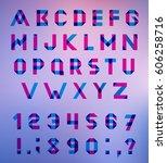 alphabet set fun geometric... | Shutterstock . vector #606258716