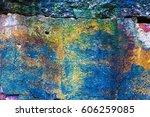 concrete wall in multi colored... | Shutterstock . vector #606259085