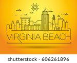 minimal virginia beach linear...   Shutterstock .eps vector #606261896