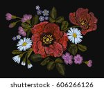 embroidery colorful floral... | Shutterstock .eps vector #606266126