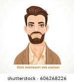cute dark haired bearded man... | Shutterstock .eps vector #606268226