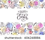 happy easter greeting card with ... | Shutterstock .eps vector #606268886
