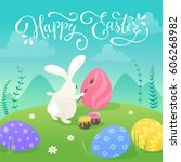 happy easter greeting card with ... | Shutterstock .eps vector #606268982