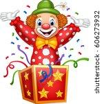 cartoon clown jumping out of... | Shutterstock . vector #606273932