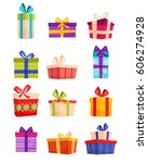 set of colorful gift boxes with ... | Shutterstock .eps vector #606274928