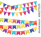 colorful garlands on white... | Shutterstock .eps vector #606275135