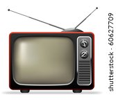 retro tv set realistic vector...