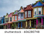 the colorful painted ladies row ... | Shutterstock . vector #606280748