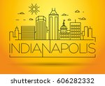 minimal indianapolis linear...   Shutterstock .eps vector #606282332