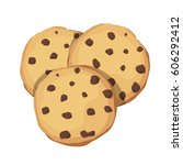 chocolate chip cookies. choco... | Shutterstock .eps vector #606292412