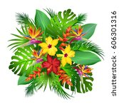 exotic flowers with palm leaves ... | Shutterstock .eps vector #606301316