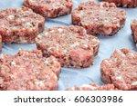 raw fresh pork cutlets in the... | Shutterstock . vector #606303986