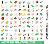 100 tourist attractions icons... | Shutterstock .eps vector #606306782