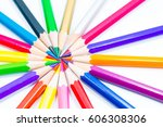 crayon on white background. | Shutterstock . vector #606308306