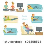 home leisure. couple watching... | Shutterstock . vector #606308516