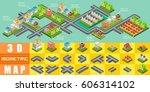 isometric block map... | Shutterstock .eps vector #606314102