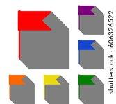 flag sign illustration. set of...