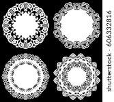 set of design elements  lace... | Shutterstock .eps vector #606332816
