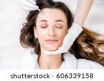 woman receiving a botox... | Shutterstock . vector #606339158