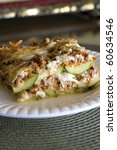 Stock photo healthy low carb summer lasagna with zucchini strips 60634546