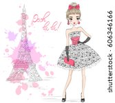 hand drawn beautiful cute girl... | Shutterstock .eps vector #606346166