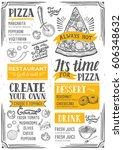 pizza food menu for restaurant... | Shutterstock .eps vector #606348632