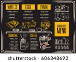 breakfast menu placemat food... | Shutterstock .eps vector #606348692