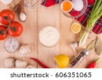 mayonnaise on a wooden... | Shutterstock . vector #606351065