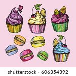 hand drawn doodle cupcake. ... | Shutterstock .eps vector #606354392