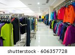 fashion clothing on hangers at... | Shutterstock . vector #606357728