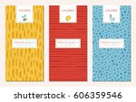 vector set of trendy hand drawn ... | Shutterstock .eps vector #606359546