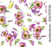 flower seamless pattern.... | Shutterstock . vector #606359936