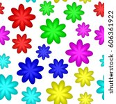 abstract colorful floral... | Shutterstock . vector #606361922